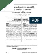 Artículo desinfección_Inaceptable uso del cloruro de Benzalconio