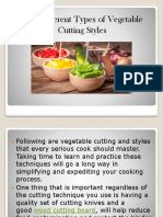 The Different Types of Vegetable Cutting Styles Ppt