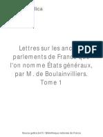 Boulainvilliers Lettres Sur Les Anciens Parlements Tomo I