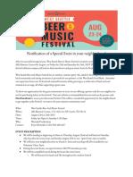 Notification of Festival