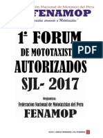 Previa Carta de Invitacion Al 1 Forum de Mototaxistas Autorizados Sjl
