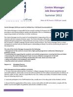 Centre Manager Job Description 2012