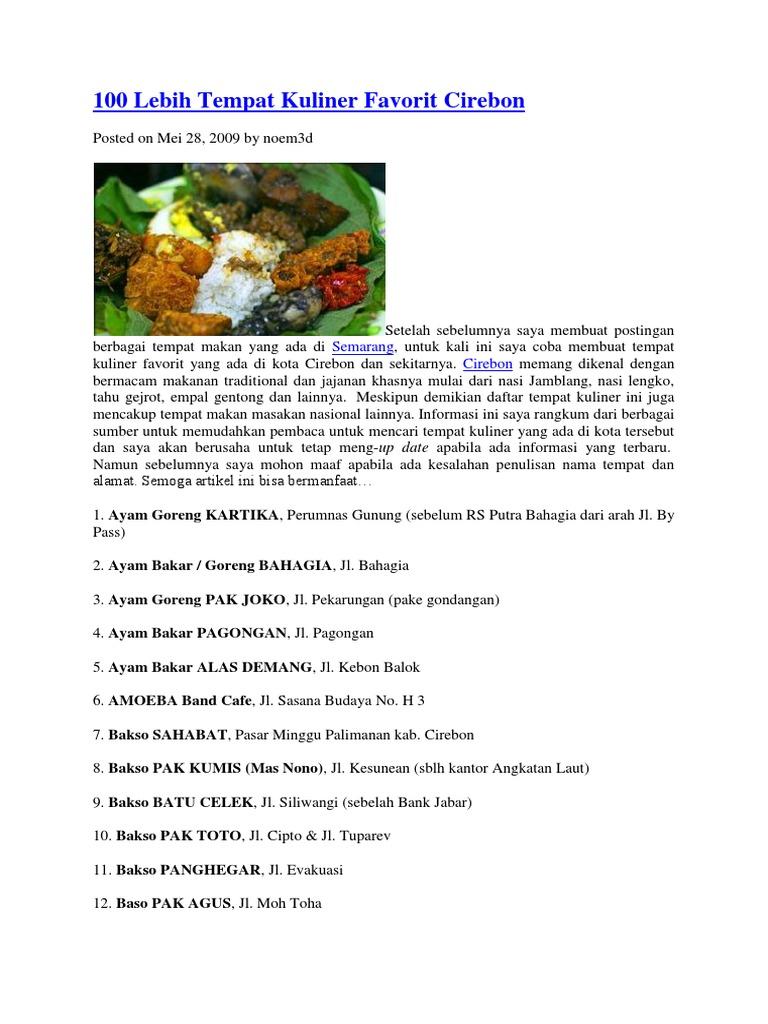 100 Lebih Tempat Kuliner Favorit Cirebon
