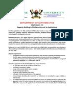 Makerere University Sida Postdoc Fellowship in Mathematics 2019 August - Advert