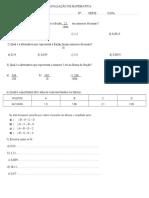 Avaliação de Matemática Decimais