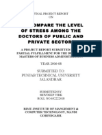 """TO COMPARE THE LEVEL OF STRESS AMONG THE DOCTORS OF PUBLIC AND PRIVATE SECTOR"""