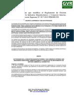 Decreto Supremo Que Modifica El Reglamento de Gestión Ambiental Para La Industria Manufacturera y Comercio Interno