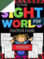 Free Sight Words Worksheets Kindergarten