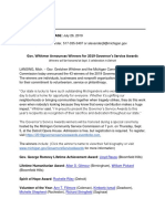 2019 Governor's Service Awards Winners Press Release