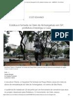 Estátua é Furtada No Vale Do Anhangabaú Em SP; Prefeitura Investiga o Caso - 14-08-2019 - UOL Notícias