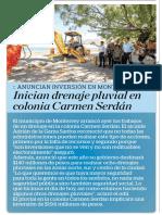 14-08-19 Inician drenaje pluvial en colonia Carmen Serdán