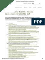 Resolucion 0312 de 2019 Nuevos Estandares Minimos Del Sgsst Agroindustria