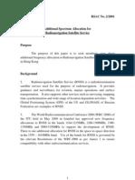 Additional Spectrum Allocation for Radio Navigation Satellite Service (2001)