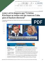 Elisa Carrió Asegura Que _Cristina Kirchner Se Reúne Con Los Rusos en Cuba Para El Hackeo Electoral_ _ Perfil