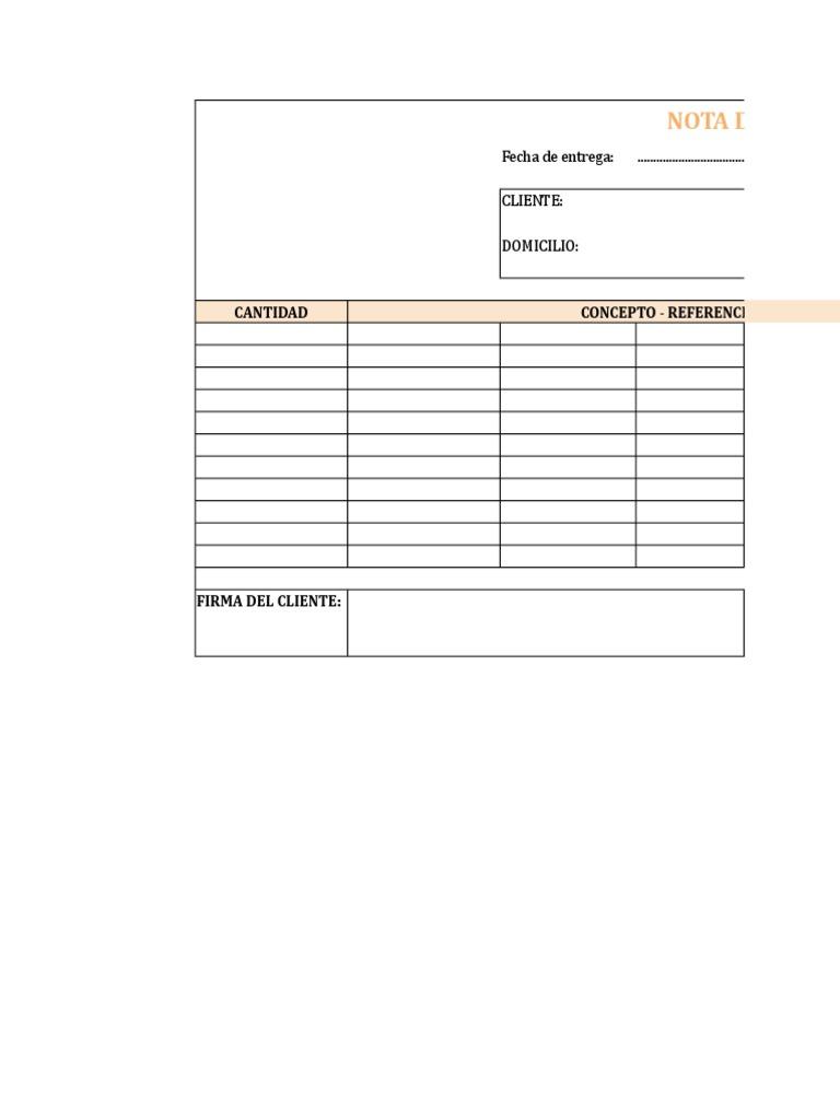Modelo Nota De Entrega Excel Xlsx