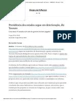 Previdência Dos Estados Segue Em Deterioração, Diz Tesouro - 14-08-2019 - Mercado - Folha