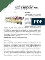 Avaliação e Aprendizagem Segundo Os Documentos Oficiais Do MEC_ LDB e PCNs