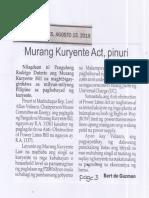 Balita, Aug. 15, 2019, Murang Kuryente Act, pinuri.pdf
