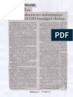 Business World, Aug. 15, 2019, Lawmakers to minimize risk of 2020 budget delay.pdf
