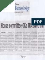 Malaya, Aug. 15, 2019, House committee IKs TRABAHO bill.pdf