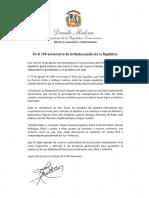 Mensaje del presidente Danilo Medina con motivo del 156 aniversario de la Restauración de la República