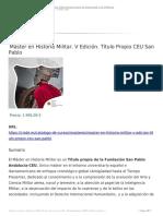 Master en Historia Militar v Edicion Titulo Propio Ceu San Pablo