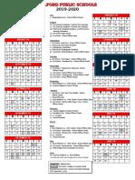 Milford Public School 2019-20 Calendar