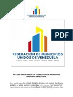 Documento constitutivo de la Federación de Municipios Unidos de Venezuela