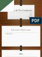 Slide - Tipos de Pós-Graduação