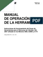 NSHS0710-02 Instrucciones de Funcionamiento Del Grupo de Herramientas Para El Retroceso de Valvulas 148-2997 Utilizado en Llos Motores 3600 G3600 y C175