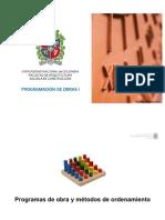 Programas de Obra y Métodos de Ordenamiento