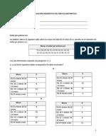 Evaluación diagnóstico MATEMÁTICA - 1°