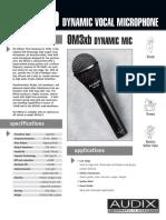 Audix OM3 Spec Sheet