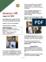 Moraga Rotary Newsletter August 13 2019