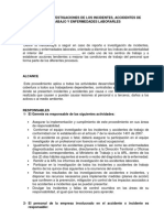 REPORTE E INVESTIGACIONES DE LOS INCIDENTES, ACCIDENTES DE TRABAJO Y ENFERMEDADES LABORARLES