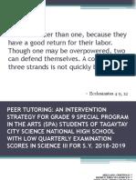 Peer Tutoring as Instructional Material
