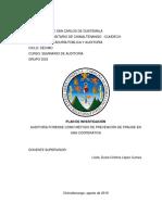 15 08 19 Plan de Investigación Grupo 2, Auditoría Forense Como Método de Prevención de Fraude en Una Cooperativa