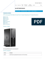 HP Compaq 8100 Elite Small Form Factor Business PC Specifications