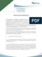 Tietê - Aviso Acionistas_Dividendos 1T19