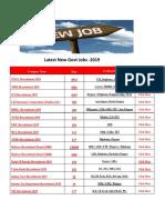 Latest New Govt Jobs 2019