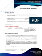 Projector Rental Equipment Agreement Form