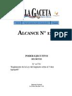ALCA129_11!06!2019 - Reglamento de La Ley Del Impuesto Sobre El Valor Agregado