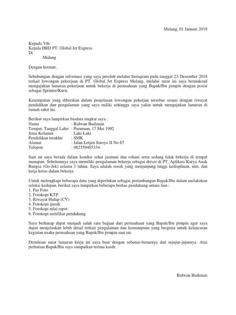 Contoh Surat Lamaran Kerja Untuk J T Contoh Lif Co Id