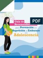 Guía de Recomendaciones Para La Prevención de La Repetición Del Embarazo en La Adolescencia . Chile 2019