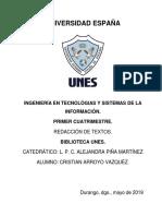 Trabajo de Investigacion Biblioteca UNES.