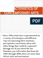 Characteristics of Contemporary Arts