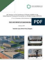 Post Visit Report of Pakistani Delegation. UNFCCC- COP24. Katowice. Poland. 2018. Saadullah Ayaz