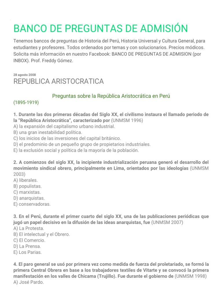 Banco De Preguntas De Admision Republica Aristocratica Peru America Del Sur