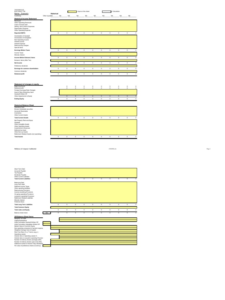 13071159 McKinsey Valuation DCF Model | Equity (Finance) | Balance Sheet