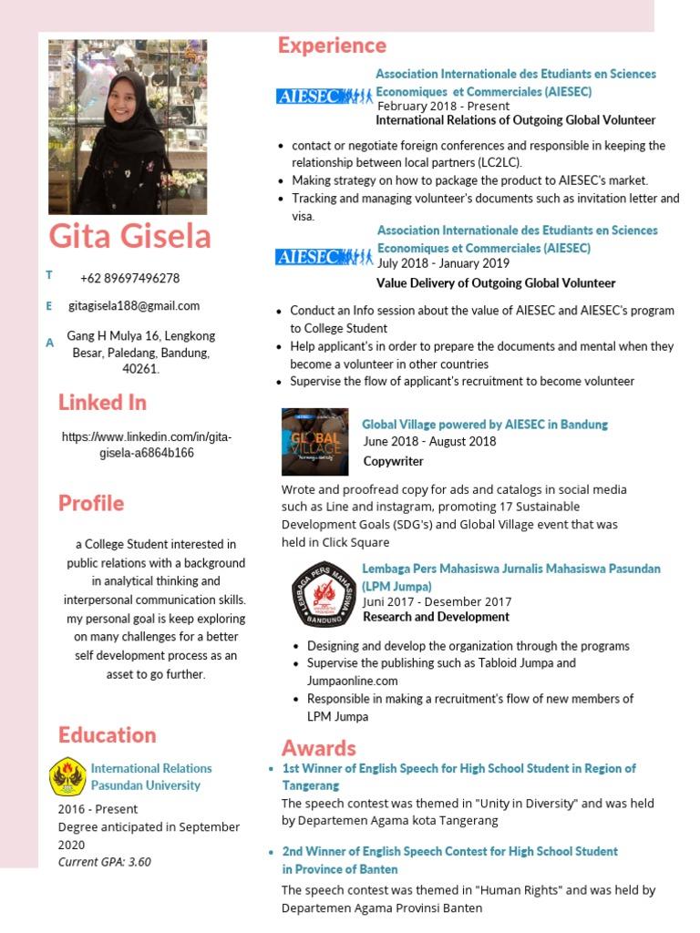 Cv Gita Gisela Client Relation Staff Communication Psychology Cognitive Science